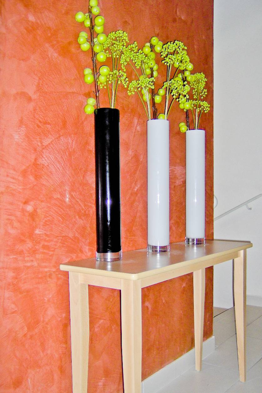 Décoration intérieure : Stuc chaux rouge pompéien ciré
